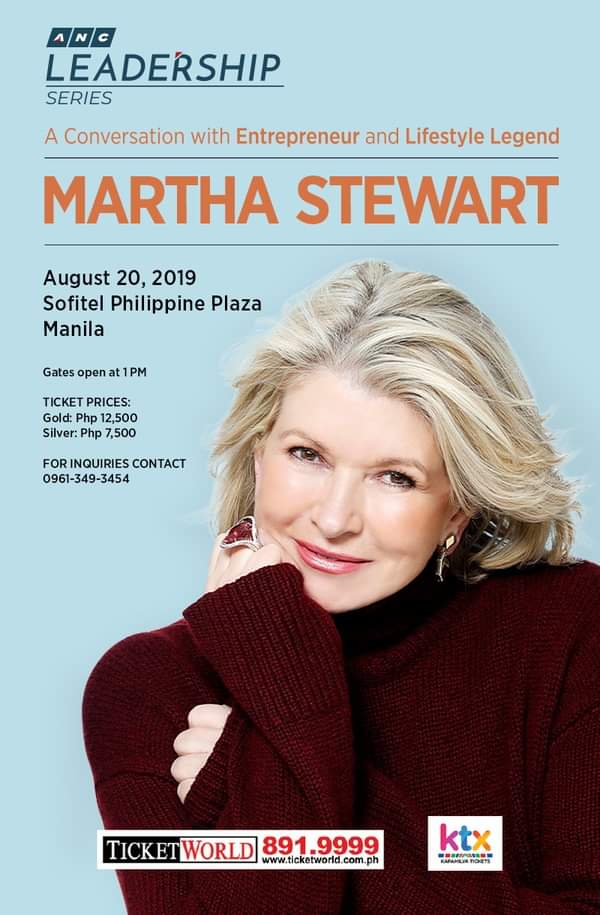 martha stewart is coming to manila and we have all 0
